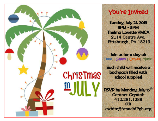 Christmas In July Flyer Amachi Pittsburgh