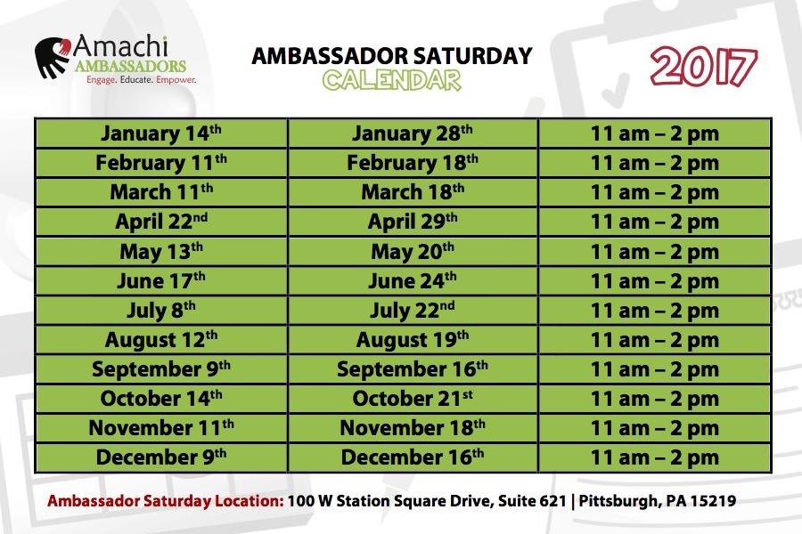 ambassador-saturday-calendar-2017